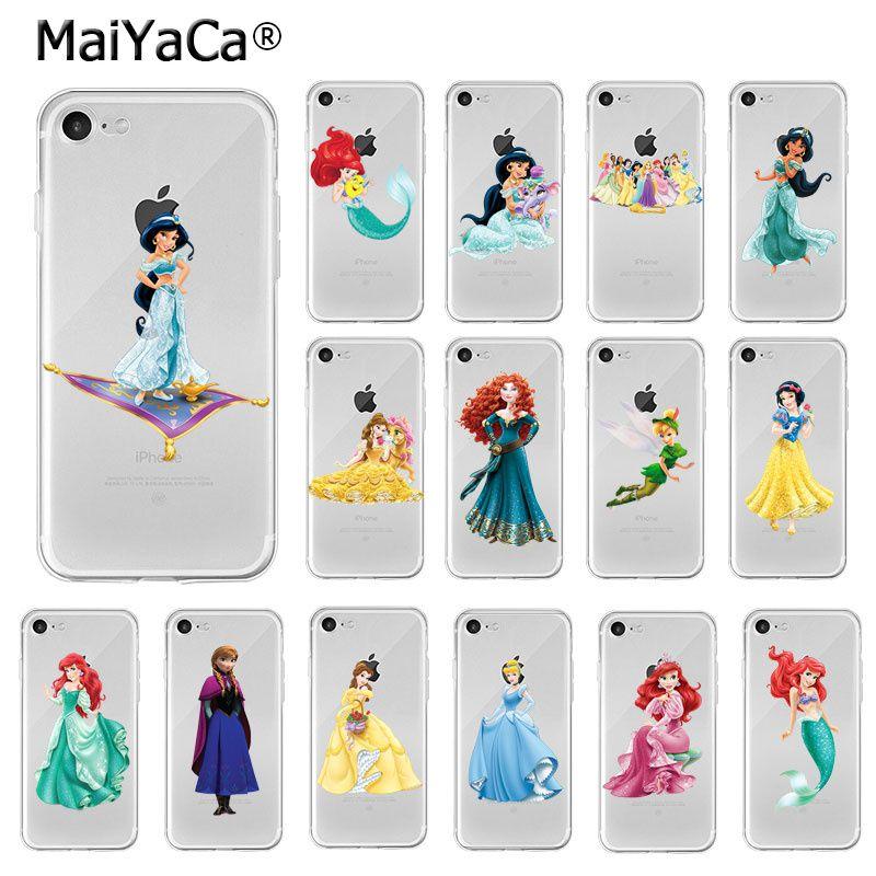 Maiyaca princesa ariel merida belle anna jasmim tpu macio silicone telefone para iphone 8 7 6 s plus x xs max 5 5S se xr capa
