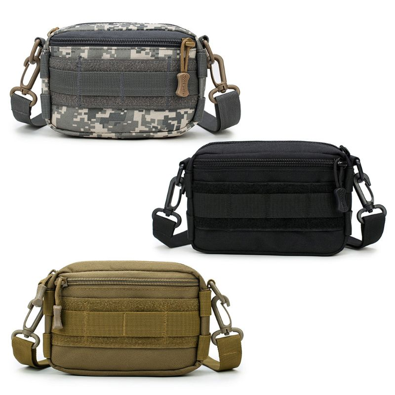 1000D Outdoor Military Tactical Waist Bag Shoulder Multifunctional EDC Molle Tool Zipper Waist Pack Accessory Durable Belt