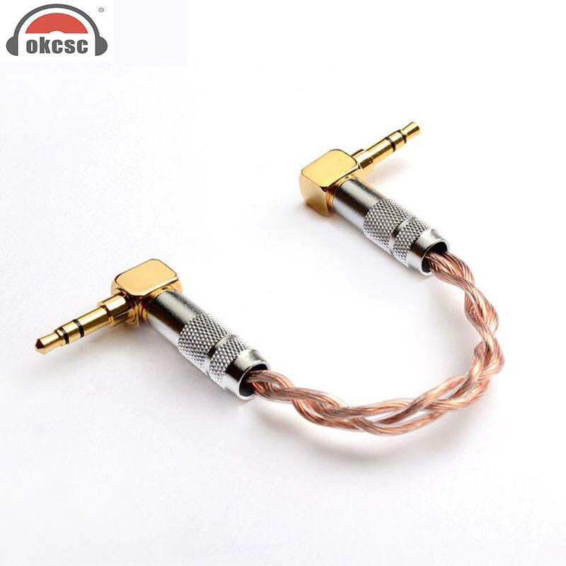 Cable de Audio OKCSC macho a macho de 3,5mm, conector plateado de 12 núcleos, auricular dorado de 24 K, accesorio adecuado para amplificador de teléfono inteligente Mp3 MP4