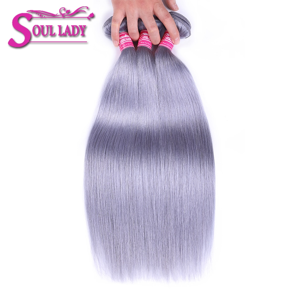 Soul Lady Ombre Color gris puro 3 mechones Ombre peruano liso mechones de pelo humano 100% extensiones de cabello ondulado Remy