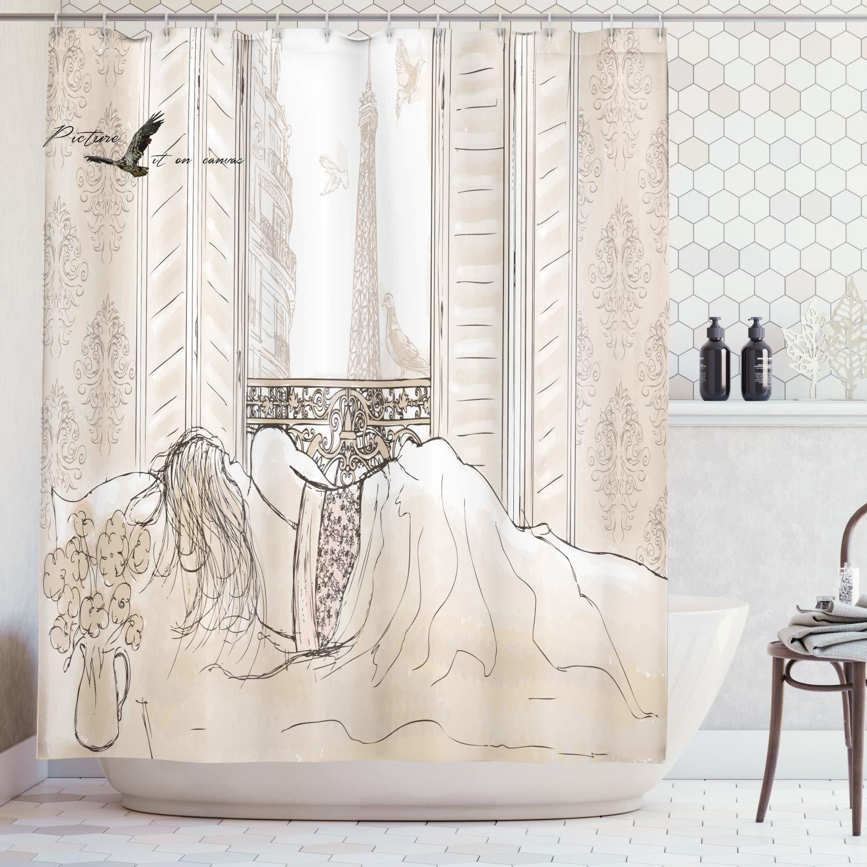 Paris Decor Shower Curtain Set Parisian Woman Sleeping with The View of Eiffiel Tower from Window Romance Skecthy Modern Art Bat