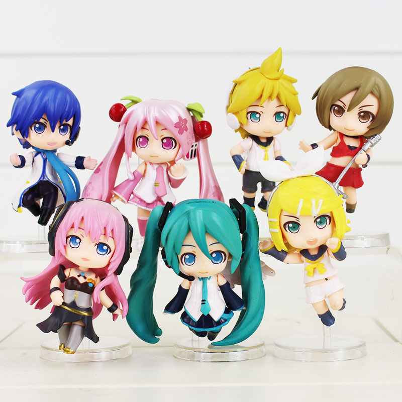 Nuevo 7 unids/lote 8cm HATSUNE MIKU Rin Len Ruka Kaito Meiko Anime juguete de figura de PVC