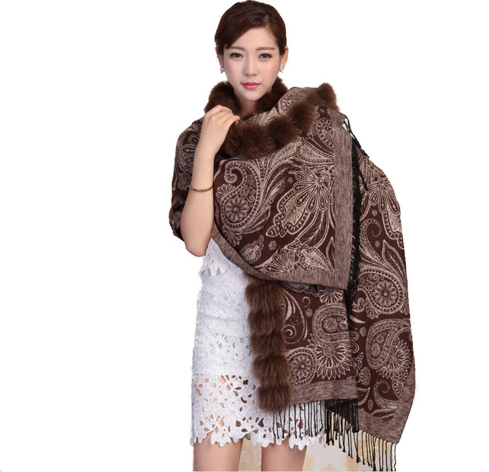 Collier doux 100% ver à soie et fourrure de renard   Pour femmes, les deux côtés, peut porter Cape chaude écharpe marron