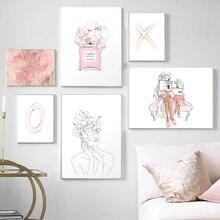 Affiches et imprimés de plumes dart mural   Parfum, en Vogue maman et fille, XO imprimé aquarelle fleur, décoration pour chambre