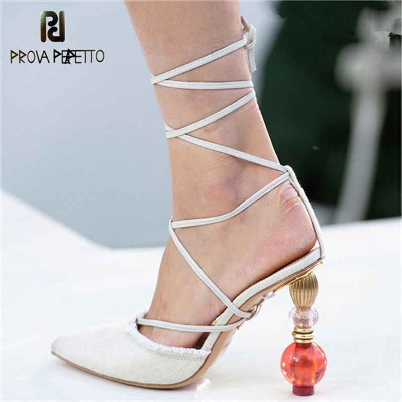 Prova Perfetto, sandalias para mujer de tacón alto con cristales de Metal de diseñador de pasarela, sandalias cruzadas de Gladiador, zapatos de vestir sexis para mujer