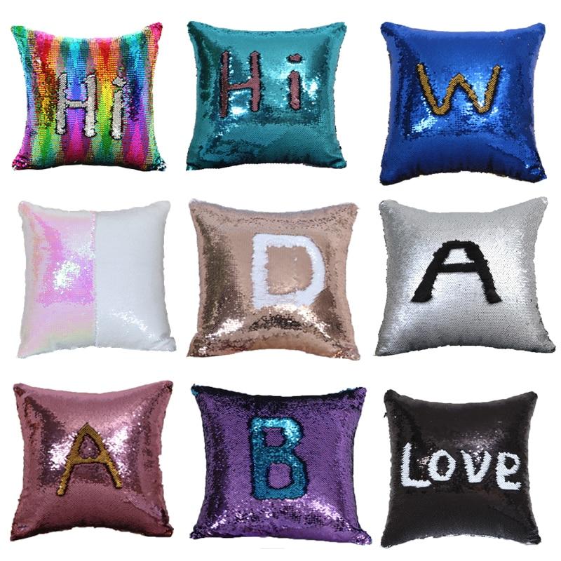 Волшебная наволочка с блестками, наволочка для подушки, 40x40 см, наволочки, декоративные двусторонние модные детские подушки