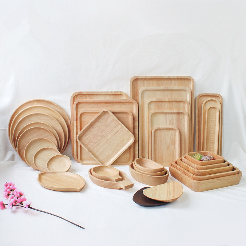 Plato de madera para Pan, plato de madera de goma ovalada redondo/rectangular/cuadrado japonés, platos para fruta, platillo, bandeja para té, postre y Cena