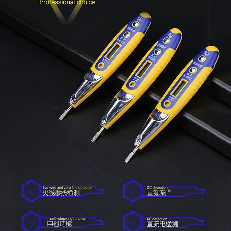 Lápiz de prueba de inducción de alta precisión multifunción AC DC 12-250V probador voltaje de pantalla LCD Detector pluma de prueba para electricista