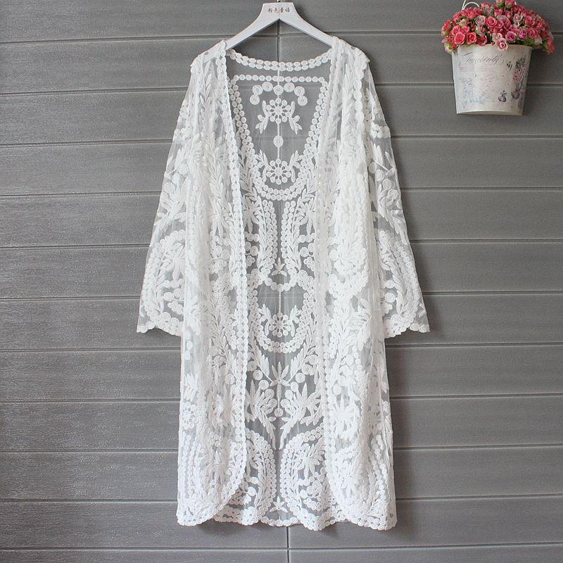 Cárdigan de encaje 2020, Kimono de verano, cárdigan para mujer, chaquetas largas bordadas, camisa blanca, ropa coreana, ganchillo de manga larga para playa