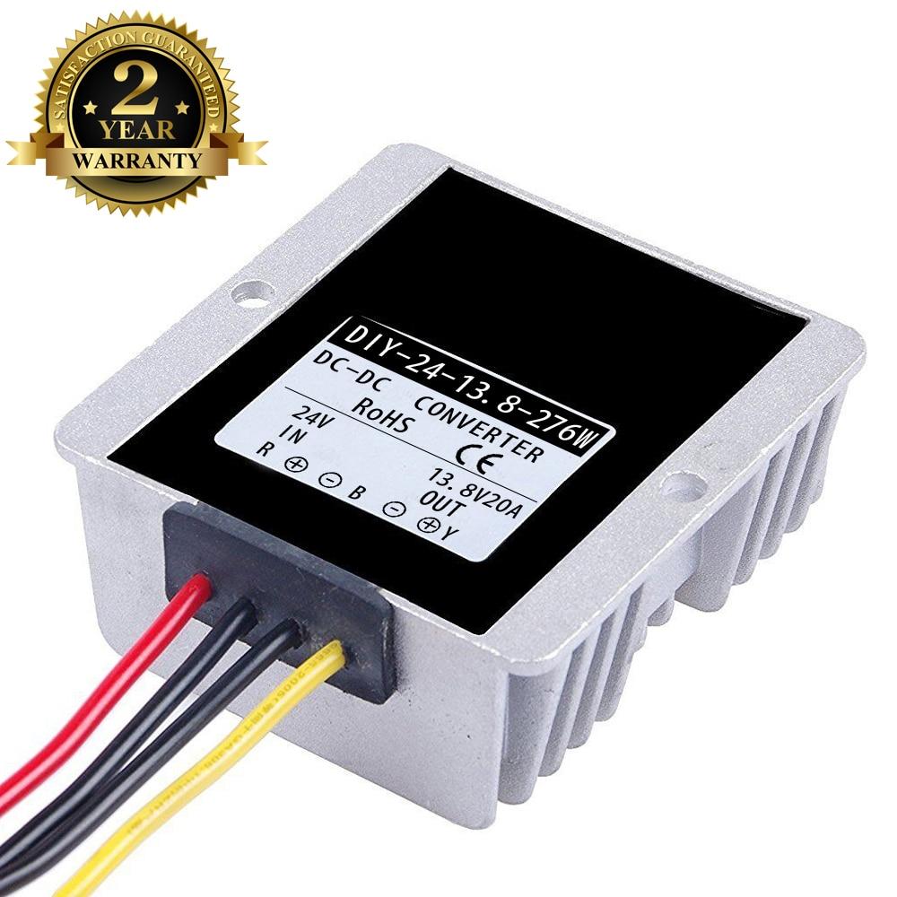 محول الجهد الكهربائي المقاوم للماء DC 24V 36V (17V-40V) إلى 13.8V 20A 276W ، RoHs CE