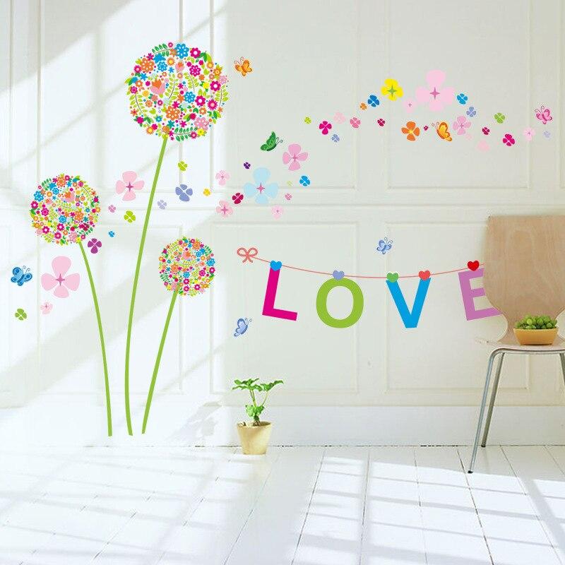 """2017 """"Lindamente cor Dandelion Adesivos de Parede Romântico Decoração Da Parede Poster 60*90 cm Home Decor decalques da parede da flor amor"""