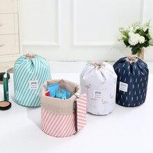 Women Fashion Sample High Capacity Nylon Beauty Makeup Bags Travel Barrel Shape Cosmetic Bag Bathroom Organizer Bag Storage
