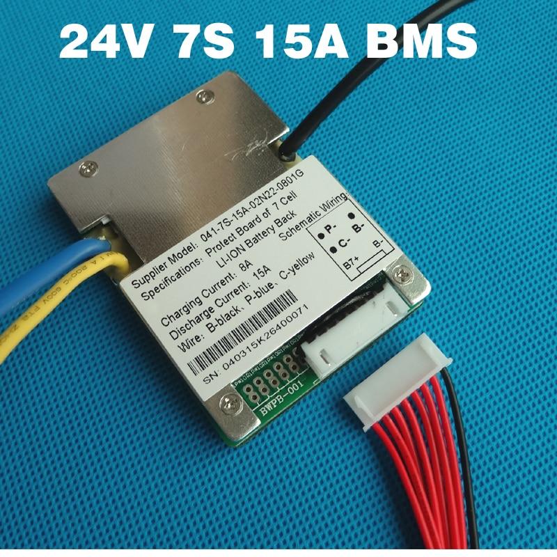 7S 24V 15A BMS li-ion battery BMS Used  for 24V 8Ah 10Ah 12Ah and 15Ah battery E-bike battery BMS With balance function