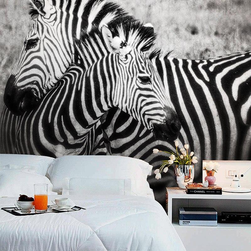 Большой черный и белый Зебра животные 3d обои фрески для спальни 3d настенная фотообои 3d настенные росписи 3d бумага 3d стикер