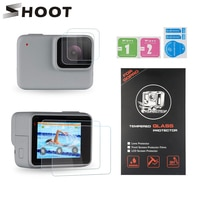 Двойной ЖК-экран SHOOT и защитное стекло для объектива GoPro Hero 7, серебристая, белая Защитная пленка для камеры Go Pro Hero 7 Silver
