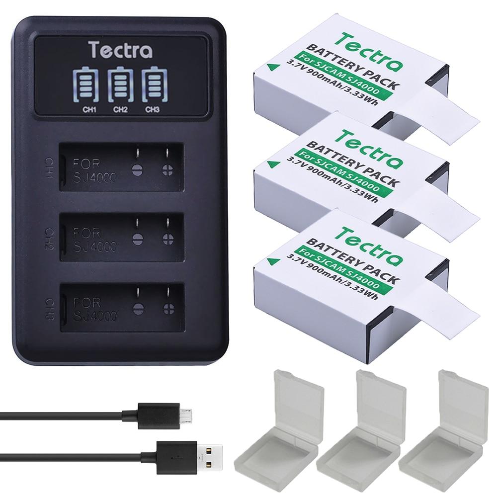 3 uds batería de Cámara de Acción + LED USB 3 ranuras cargador para AKASO,Crosstour,SJCAM,SJ4000,M10,SJ5000 4K Cámara subacuática