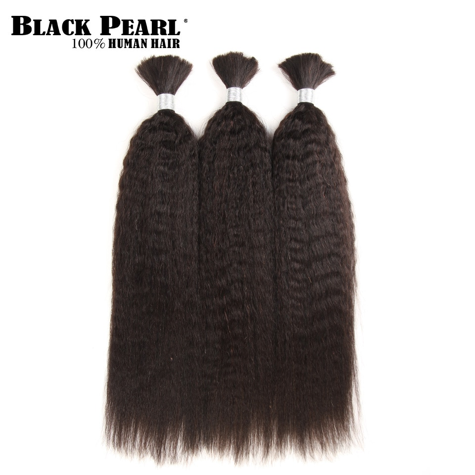 وصلات شعر ياكي برازيلية ناعمة ملونة مسبقًا ، لون لؤلؤي أسود ، وصلات شعر ، مجموعة من 3