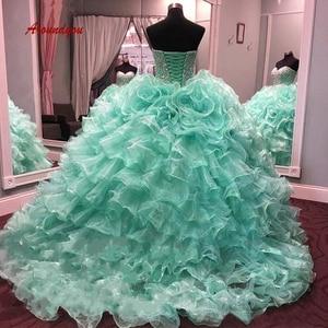 Luxury Mint Green Quinceanera Dresses Ball Gown Crystal Prom Debutante Sweet 16 Dress vestidos de 15 anos