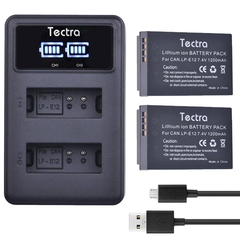 Tectra 2x LP-E12 LP E12 de repuesto Li-Ion batería + pantalla LED...