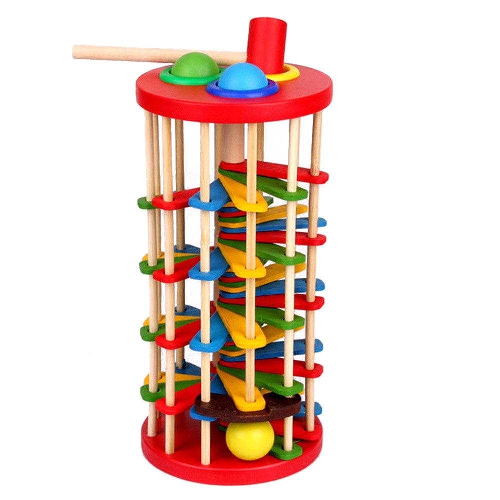 Juguetes De Madera Juguetes de bateo escalera mano golpear la pelota Montessori matemáticas educativos colorido juguetes para niños bebé
