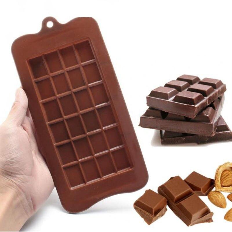 Moldes de Chocolate para hornear, moldes de pastel cuadrados de alta calidad de silicona ecológica, molde 3D DIY de calidad alimentaria, utensilios para hornear de 24 cavidades