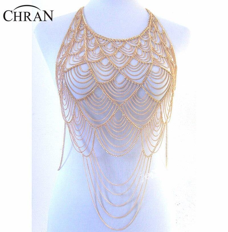 Chran cuerpo totalmente de metal hombro cadena dorada y plateada capas Europa borla babero collar Bikini arnés vientre vestido joyería BSN205