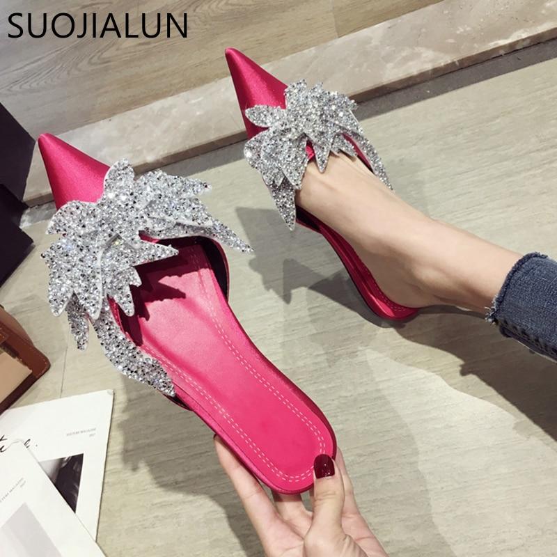 SUOJIALUN 2019 Frühling Sommer Flache Maultiere Schuhe Frauen Mode Kristall Hausschuhe Casual Slip Auf Wohnungen Ferse Gleitet Elegante Sandalen