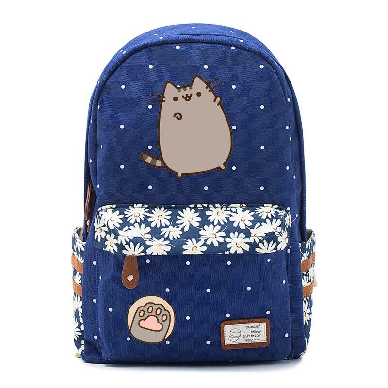 Fett katze mochila Leinwand tasche einhorn rucksack für jugendliche Mädchen frauen Schule reise Schulter Tasche Hohe Qualität Nette