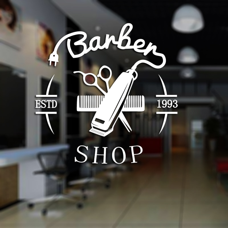 Pegatina de hombre para barbería ESTD Chop pan calcomanía corte de pelo maquinilla de afeitar póster vinilo pared arte calcomanías decoración de ventanas