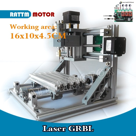 【US】1610 DIY mini CNC Engraving Laser Router Milling machine working area 160x100x45mm 3 Axis For Pcb Woodworking enlarge