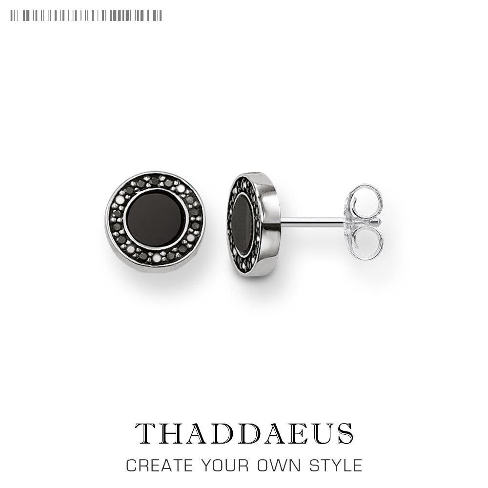 Pendientes pequeños negros redondos, joyería buena de moda de estilo Thomas para mujeres y hombres, regalo de 2018 Ts en plata de ley 925, superofertas