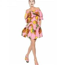 2017 Designer de piste nouveau été Mini robe femmes volants manches élastiques ceintures ananas imprimé Slash cou rose robe