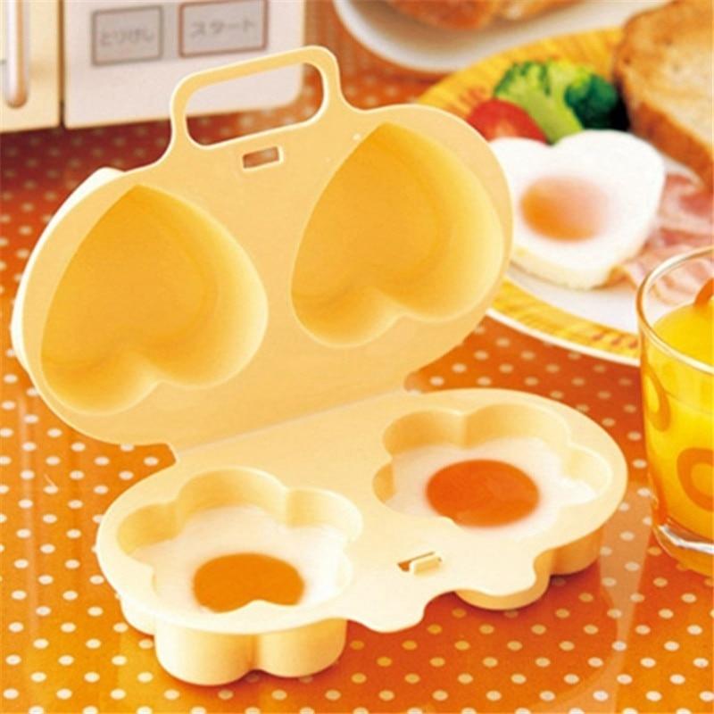 Moldes para cocina de huevos de microondas con forma de flor y corazón, vaporizador perfecto para muffins ingleses, sándwich de huevo