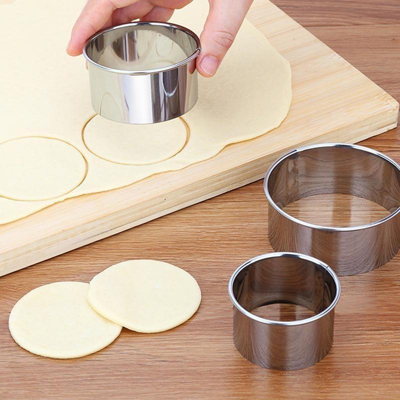 5 unids/set redondo de acero inoxidable círculo redondo galleta molde para tarta de mousse torta goma pasta molde capa rebanador DIY cortador molde
