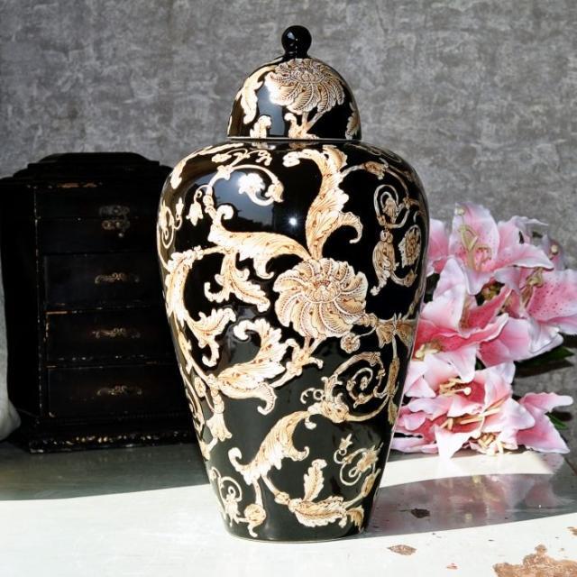 Pintura tallada en negro Jingdezhen, jarras de cerámica de jengibre, jarras antiguas de porcelana para patillas, jarras de cerámica de porcelana