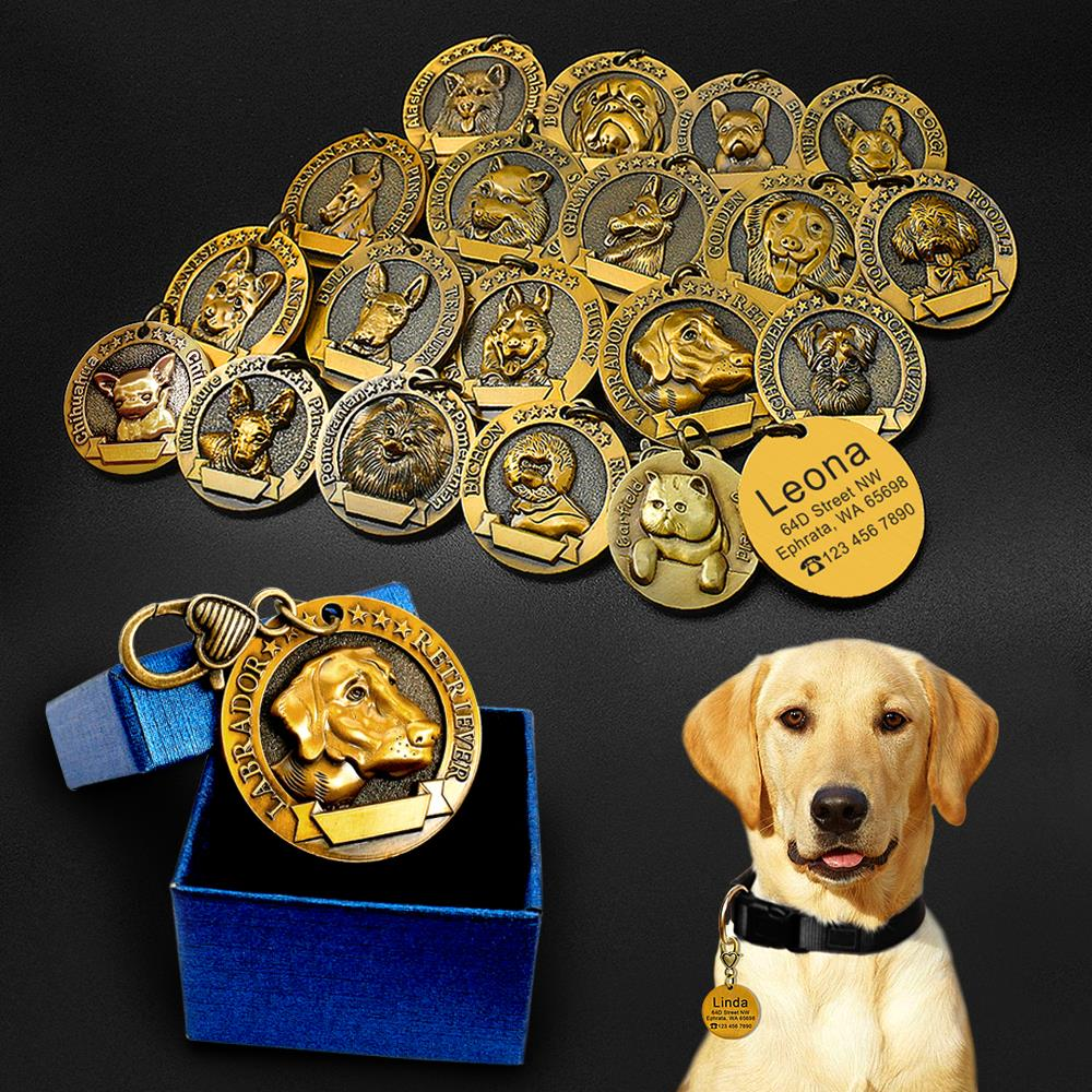 Бирка для удостоверения личности собаки с гравировкой, персонализированные металлические бирки для собак, пользовательские бирки для удостоверения личности щенка кота, аксессуары для воротника, ожерелья для собак, подвески