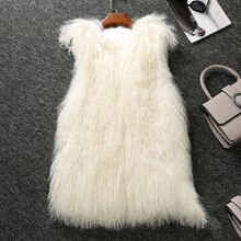 Natural Mongolia Sheep Fur Waistcoats Women Milk White Real Fur Vests Female Sleeveless Jackets 2018 New Collection