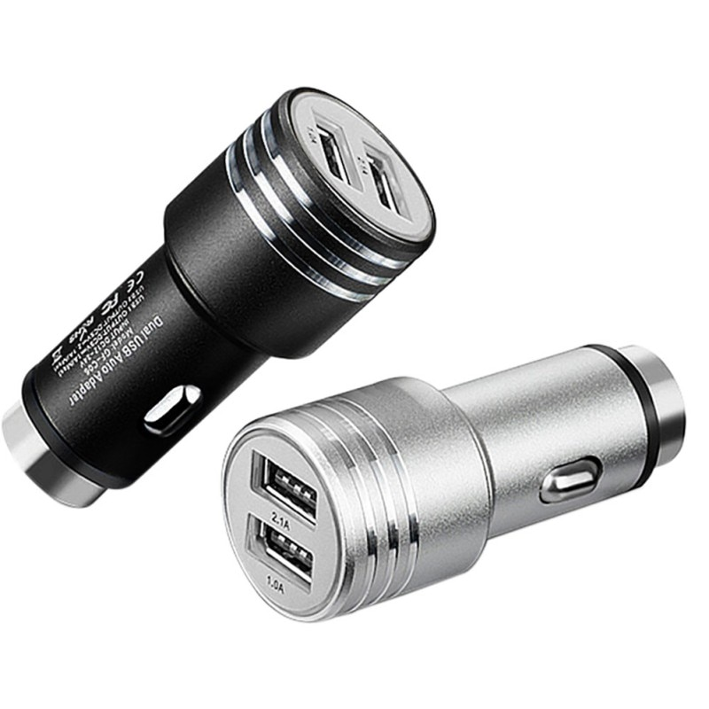 Dual USB Car Charger 5V 2.1A Safety Hammer Metal Car-Charger For iPhone Samsung Phone Cigar Lighter