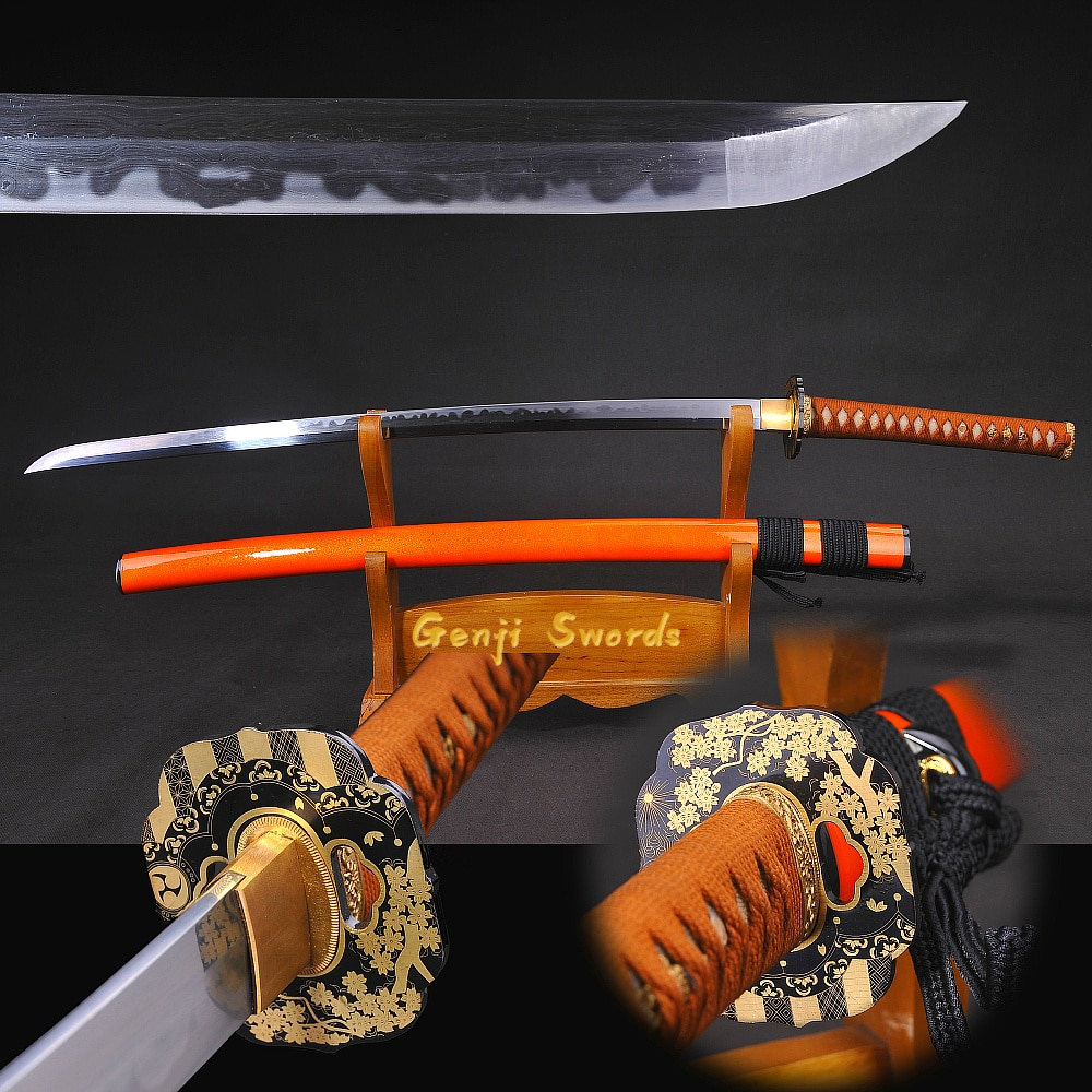 Completamente hecho a mano katana Damasco japonés doblado acero Chaos Clay-templado Real espada afilada samurái Edge