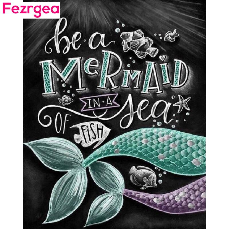 Fezrgea 5D DIY Diamond Painting Chalk board Mermaid Mosaic Cross Stitch Full Square Drill Diamond Painting Sticker Home Decor