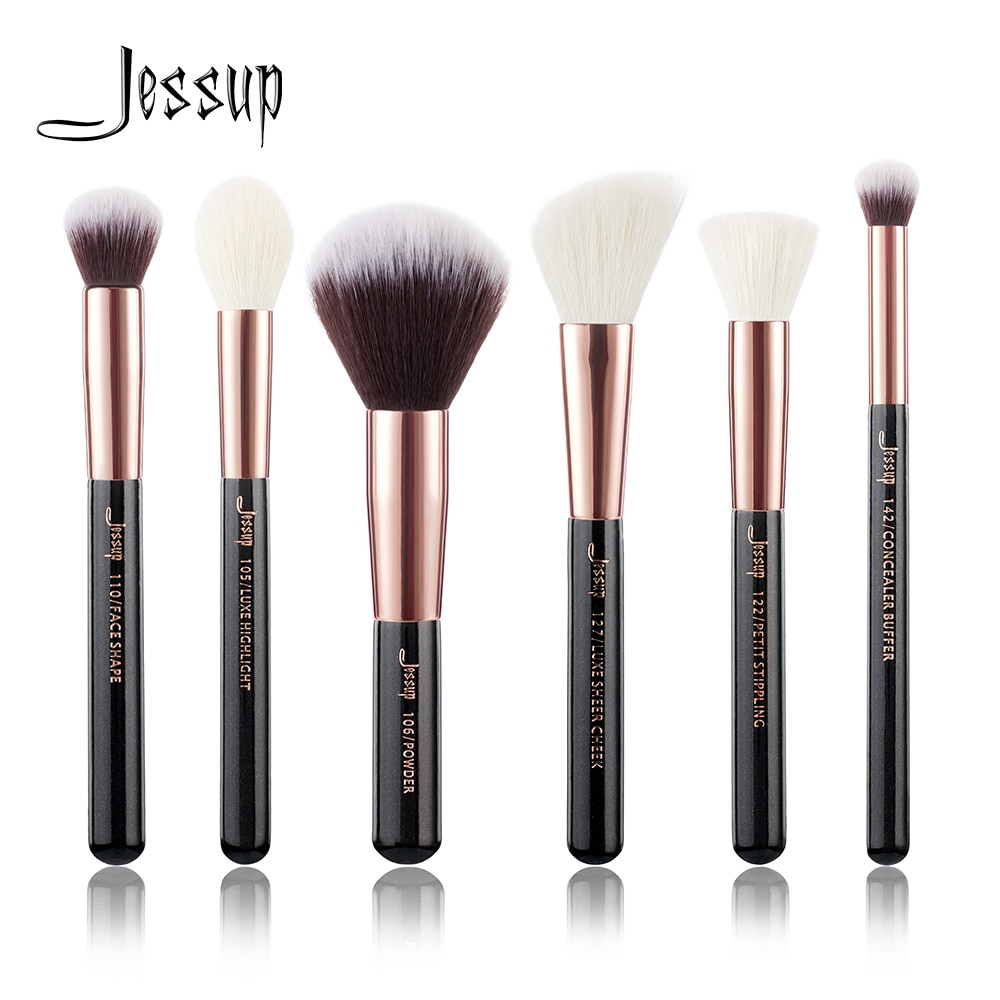 Jessup, conjunto de brochas de maquillaje negras/rosas doradas profesional, kit de brocha de maquillaje, búfer, pintura, mejillas, resaltador, maquillaje, pincel de belleza