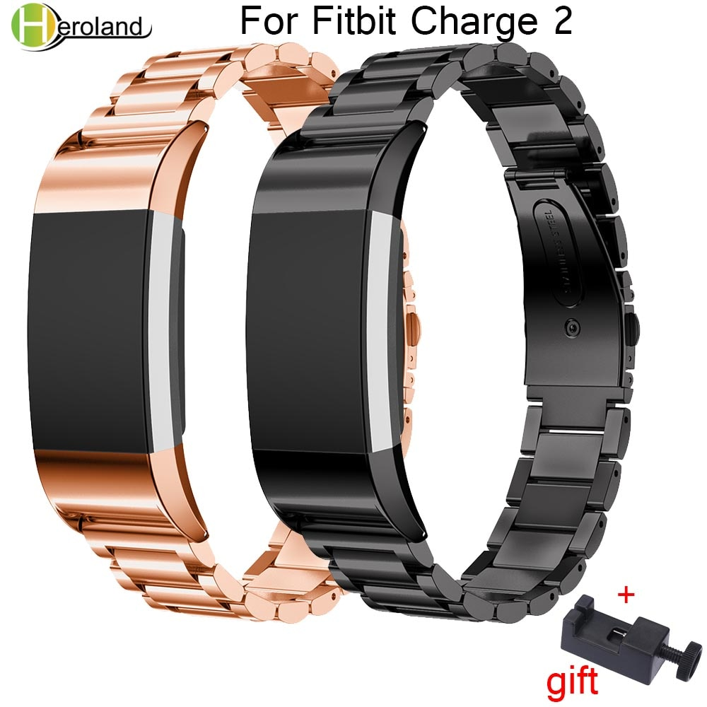 Stainless Steel Watch band Strap for Fitbit Charge 2 Replacement Watchbands Metal Wrist Strap Bracelet Wristbands Accessories watch strap new accessory watch strap solid stainless steel fashion luxury women metal strap bands for fitbit ionic strap