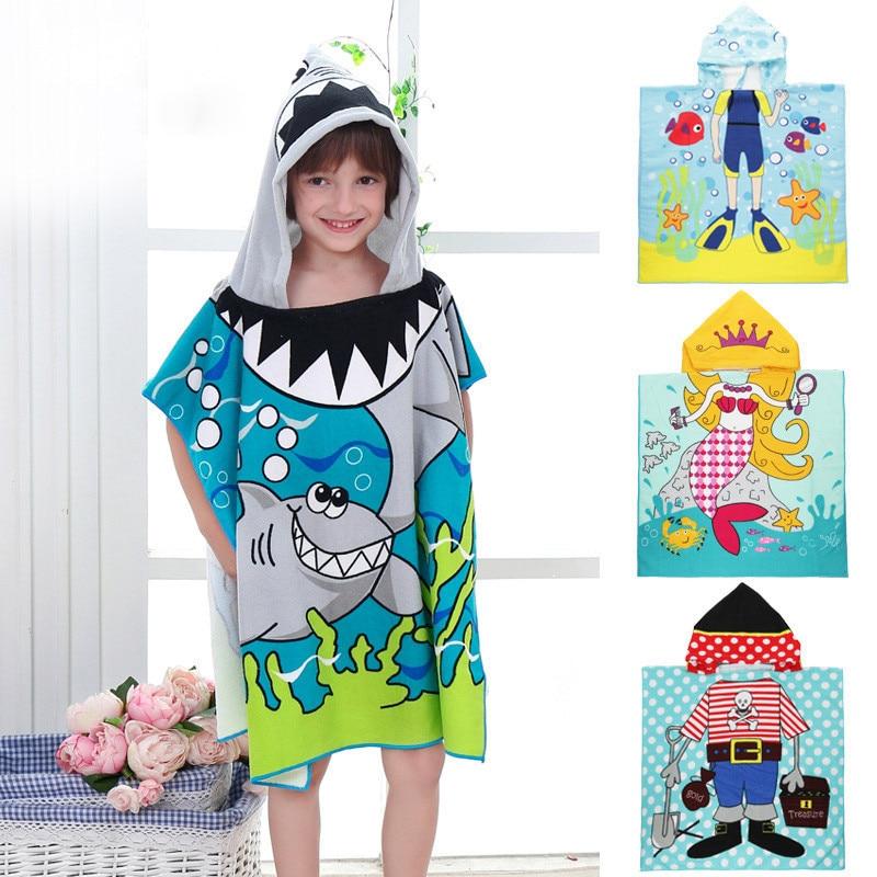 Children Cartoon Baby Hooded Cloak Beach Towel Boys Girls Kids Swimming Bath Towel Microfiber Terry Infant Bathing Wrap Bathrobe