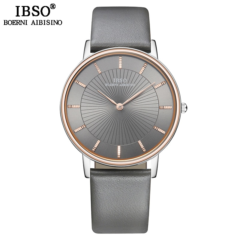 IBSO Top Brand Luxury Mens Quartz Watch Genuine Leather Strap Watch For Male Fashion Clock Relogio Masculino relojs watch men top brand luxury fashion man wristwatches quartz creative leather male watch big watch relogio black clock xfcs