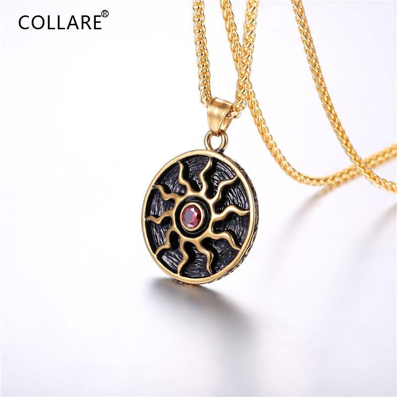 Collare antigo pingente de sol cor de ouro almas escuras solaire de astora sol símbolo de aço inoxidável colar tribal masculino jóias p848