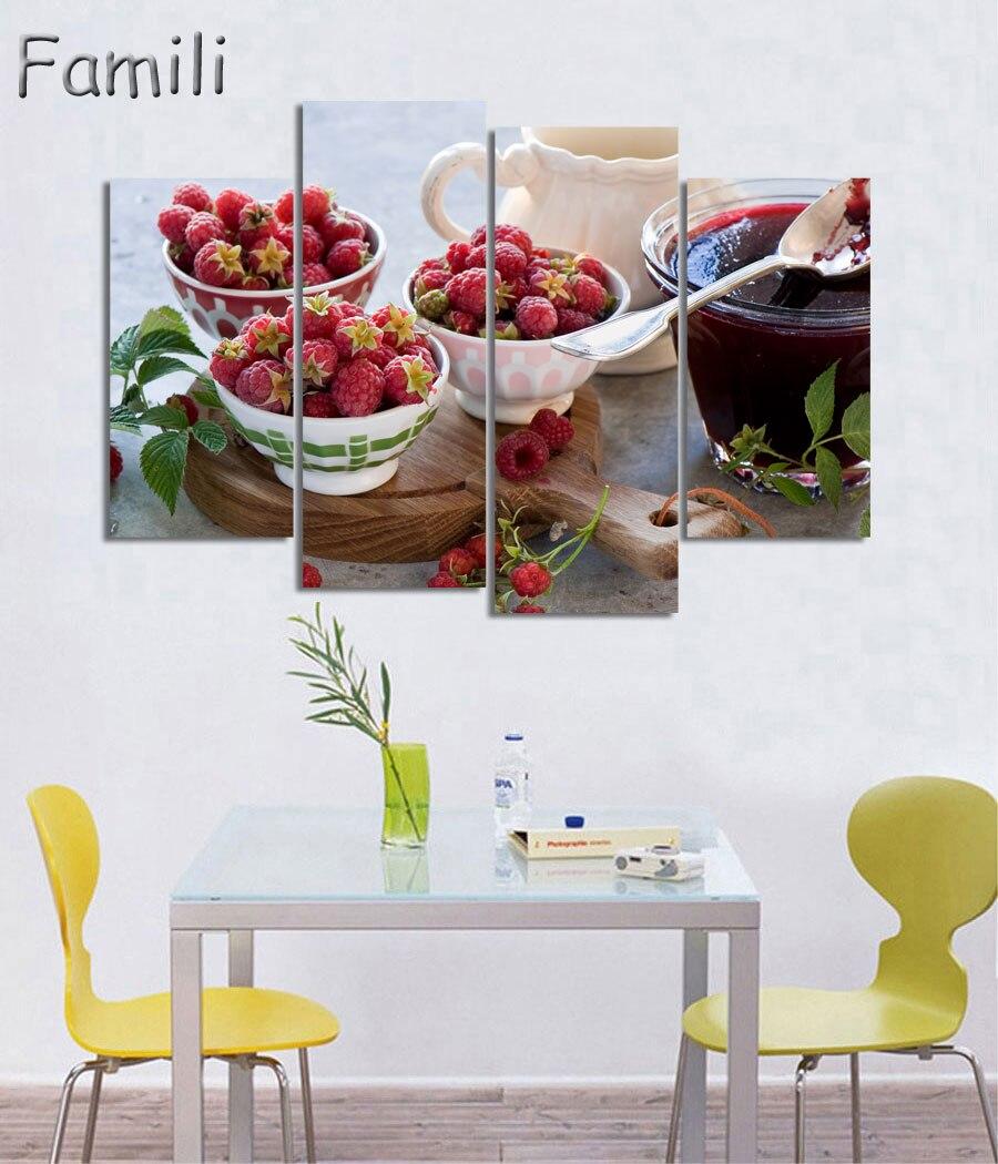 4 imágenes de mermelada, comida y taza de lienzo moderno, pintura de pared, cuadro de arte para decoración de la habitación de la cocina, ilustraciones sin marco