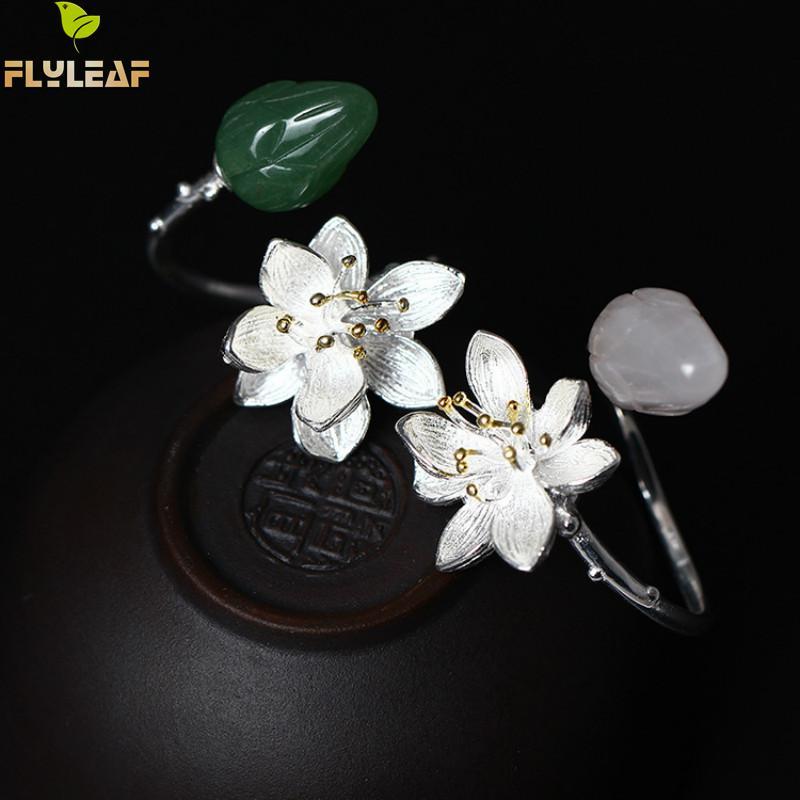 Flyleaf 2020 Natürliche jade Lotus Blume Offene Ringe Für Frauen Nation Stil Dame 925 Sterling Silber Schmuck