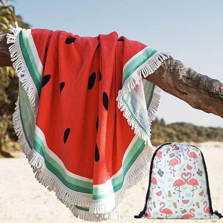 Watermelon Summer Round Beach Towels With Drawstring Storage Bag Sports Bath Shower Towels Yoga Mat With Tassels toalla playa