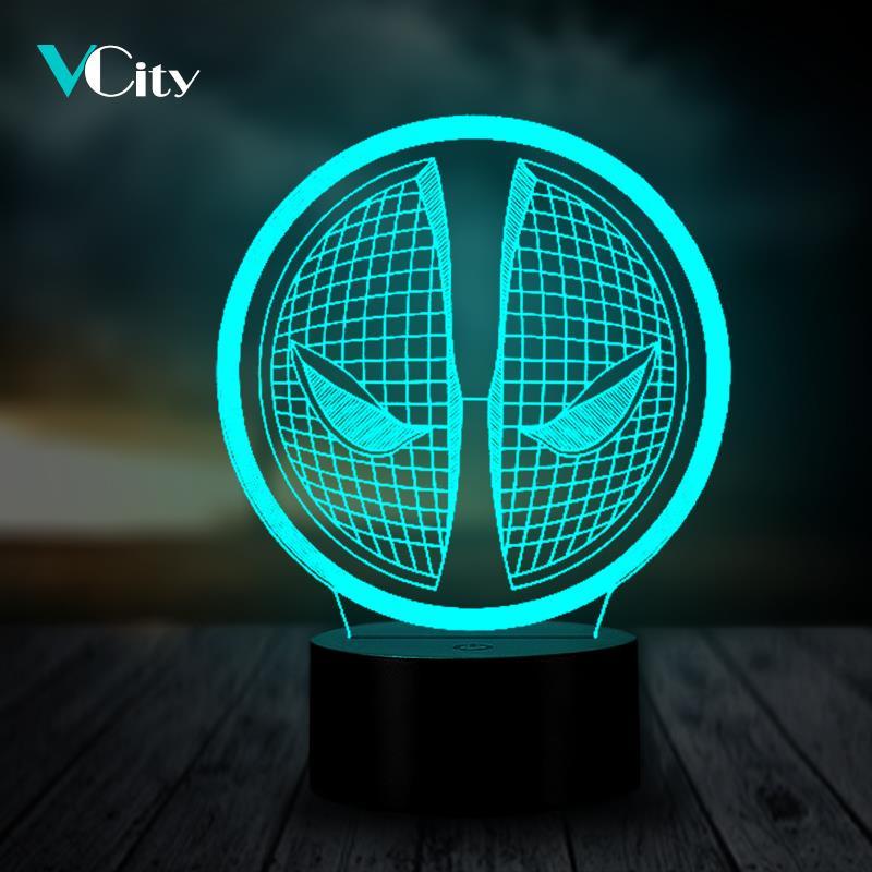 VCity Deapool Candeeiro de Mesa Led 3D Night Light Partido Home Decor RGB Mudança Multicolor Fãs de Cinema Colletction Presentes para As Crianças brinquedo