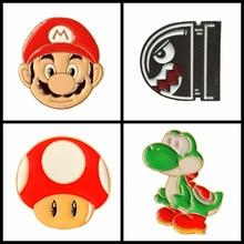 Broche champignon jeu Mario pour enfants   1 pièce, vente en gros, broche dinosaure à balles, Badge émail, vêtements bijoux pour femmes et hommes